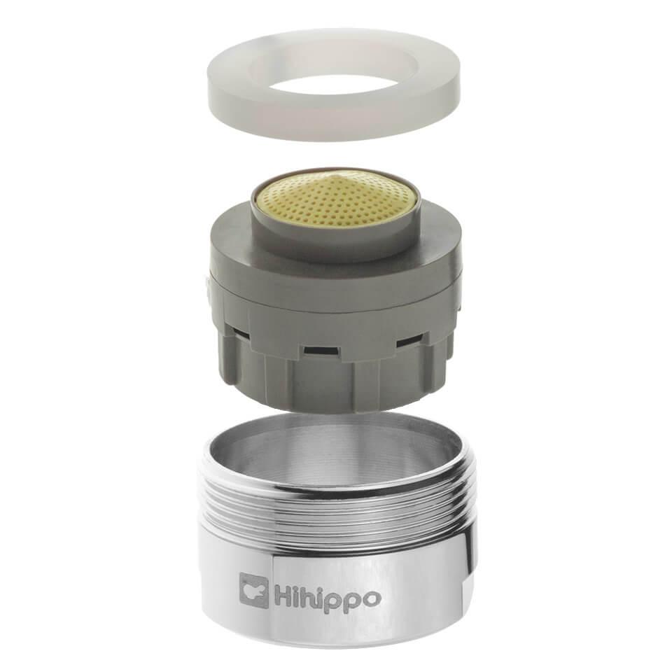 Aeratore per rubinetto regolabile Hihippo SR 3.0 - 8.0 l/min - Filettatura M24x1 maschio - più popolare